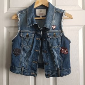 Guess Crop Denim Vest with Patches